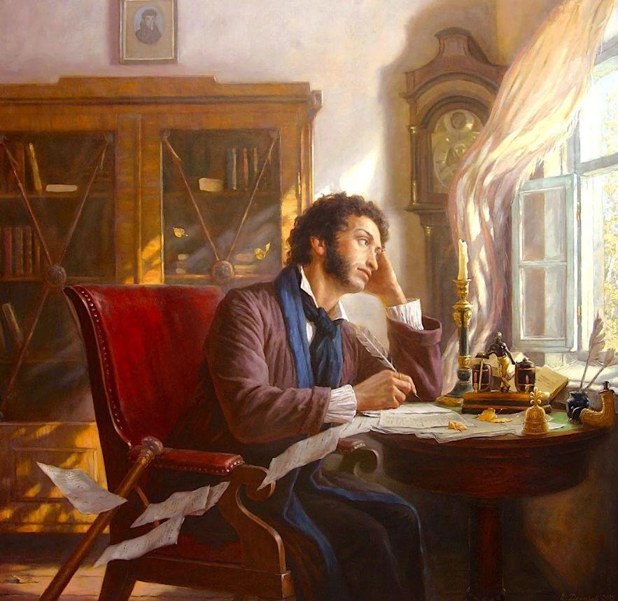 белое пушкин с утра сидит за столом пишет стихи гусиным пером представлены